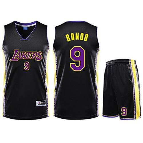 YDYL-LI Basketballtrikot Für Kinder/Erwachsene Anthony Davis # 9 Hochwertiges Atmungsaktives Mesh - Wettkampftrainingsballanzug - Sweatshirt, Schwarz,2XS(130~145cm/25~30kg)