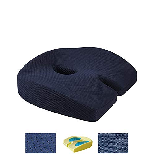 Orthopedic Memory Foam Seat Cushion Gel Seat Cushion Relieve Back Sciatica Coccyx Pain Office Chair Home Non-Slip Female Hip Shaping Buttocks Cushion Contoured Posture Corrector