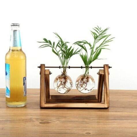 Glas en hout Vase Planter Terrarium Tabel Desktop hydrocultuur Plant Bonsai Bloempot Hangende Potten met Houten Dienblad Home Deco: B