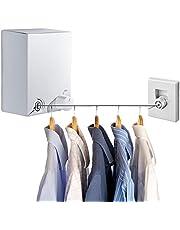 LIVEHITOP Intrekbare Waslijn, Roestvrijstalen Uitschuifbare Waslijn, Instelbaar 4,2 M Waslijn Touw, Punch en Muurbevestiging voor Binnen en Buiten