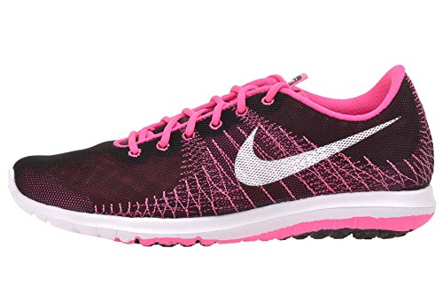 Nike Girl's Flex Fury GS Shoes (7 M US Big Kid, Black/White-Pink Power-Vivid Pink)