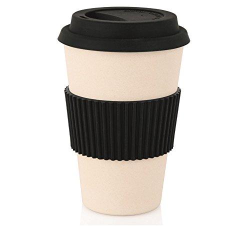 getgastro Coffee2go Becher aus Bambus & Melamin, Behälter beige oder schwarz (schwarz, A4 - Inhalt: 0,45 ltr.)