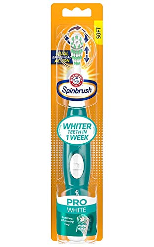 Arm amp Hammer Spinbrush Pro Series White Battery Toothbrush Medium Color May Vary: Pink or Teal 1 Count