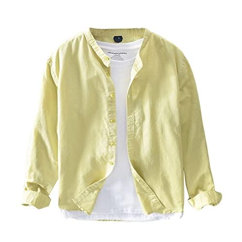 Icegrey Camicie di Lino Uomo Camicie Casual a Maniche Lunghe Tinta Unita Giallo 48