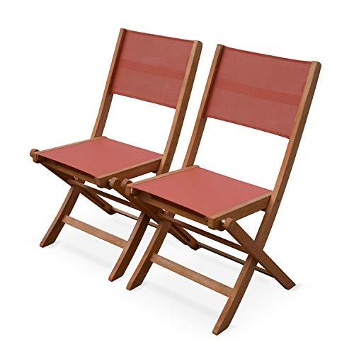 Alice's Garden Pareja de sillas de Mesa de jardín, Eucalipto, Terracota