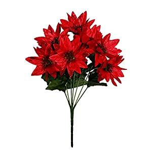 MM TJ Products Artificial Poinsettia Bouquet; 7 Stems W/Glitter