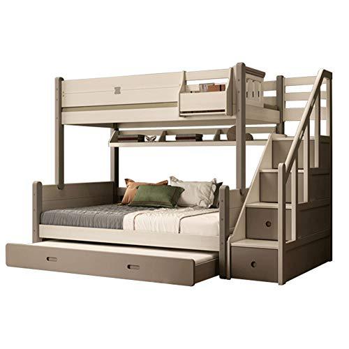 WSN Massivholz Etagenbetten, Kind-Mutter-Bett, mit Treppe und Stauraum für Kinder und Jugendliche, Abschleppbett,1.2 x 1.9M