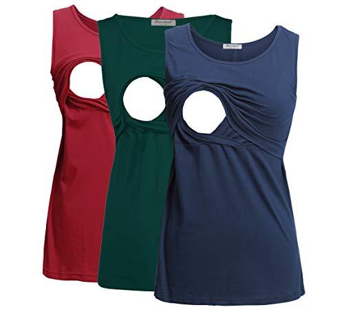 Product Image of the Bearsland Women's 3 Pack Sleeveless Maternity Nursing Tank Tops Breastfeeding...