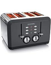 Arendo - automatische broodrooster - 4 plakken - roestvrij staal - tot vier boterhammen en toastplakken - instelbare bruiningsgraad1-6 - Opwarmfunctie - Uitneembare kruimellade - 1630 Watt - retro