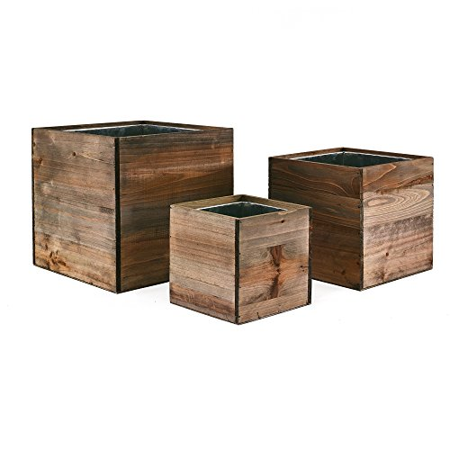 """CYS Excel Wood Cube Box Wood Planters Set of 3 with Removable Zinc Liner, 4"""", 6"""" and 8"""""""