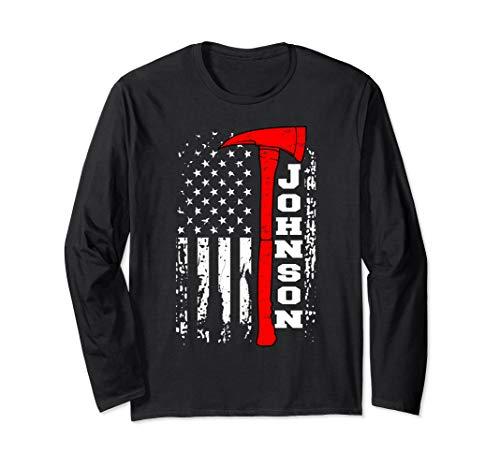 Johnson Firefighter Shirt Surname Johnson Family Gift Long Sleeve T-Shirt
