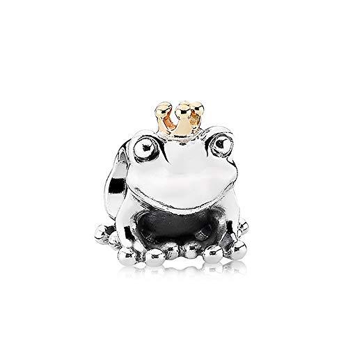 LYDXD Fit Original Pandora Charm Armbänder 925 Sterling Silber Perle Gold Frosch Prinz Frauen Armreif DIY Schmuck Geschenk