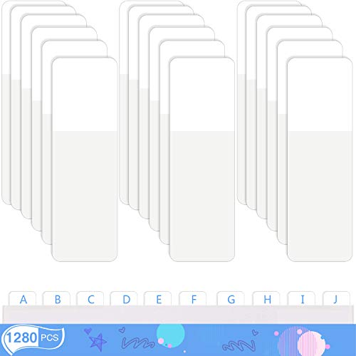Sticky Index Tabs Page Marker Pop-up Page Flags Notes Tabs Writable and Repositionable File Tabs Flags Page Tab for Page Marker 1.6 x 0.5 Inch, White (1280 Pieces)