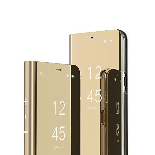 COTDINFOR Galaxy S7 Edge Custodia Placcatura Specchio Clear View Standing Cover Slim Mirror Flip Portafoglio Antiurto Case con Funzione Stand per Samsung Galaxy S7 Edge Mirror PU Gold MX.