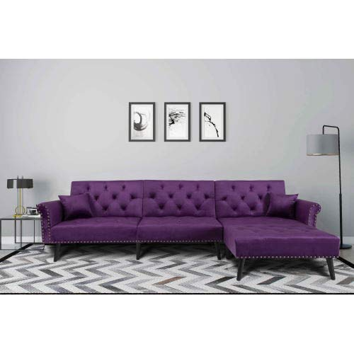 NOUVCOO Button Tufted Convertible Bed with 2 Pillows, Reversible Chaise, Sofa L Shape Sectional Couch Sleeper for Living Room Furniture, Purple Velvet