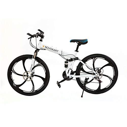 Mountain Bike Pieghevole per Uomini e Donne Adulti, Bicicletta Sportiva da Montagna, MTB con 21-Stage Shift, 24 Pollici 6 Taglierina, Bianco