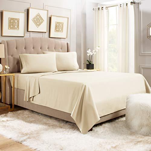 """Sheets for King Size Bed - 4 Piece King Size Sheets Set - Soft Bed Sheets King Set - 14-16"""" Deep Pocket King Size Sheets - Breathable Microfiber King Sheets - Cream Beige"""
