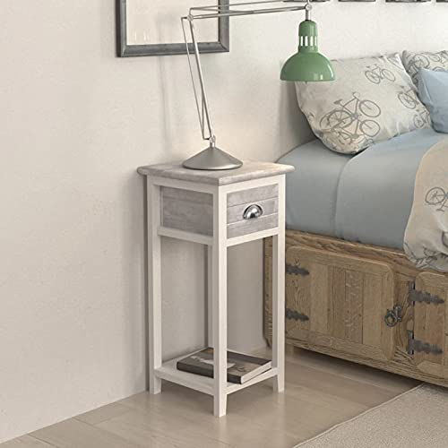 yeacher bedside table, Nightstand with 1 Drawer Grey and White