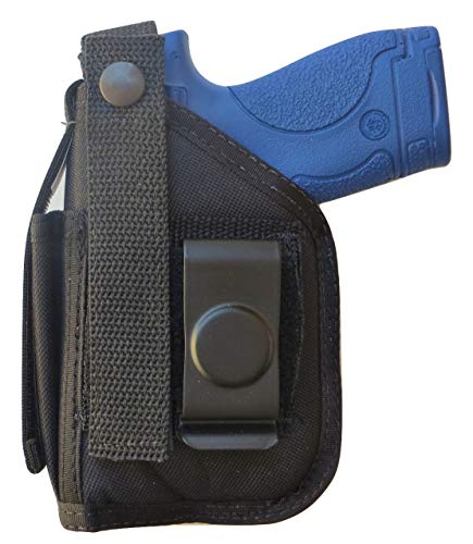 """Hip Holster for S&W Original M&P Shield with 3.1"""" Barrel. 9mm / 40 with Small Underbarrel Laser Mounted on Gun"""