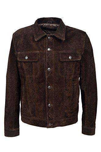 Camionneur 1280 Veste en Cuir T-Shirt pour Hommes en Peau Suede Marron Western Classique Véritable Peau D Agneau Napa Doux véritable (XL)