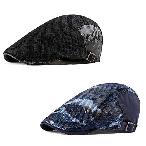 DOCILA 2 Pack Cotton Flat Cap for Men Urban Outdoor Camo Driving Cabbie Hat Black Gatsby Hats (BlackNavy)