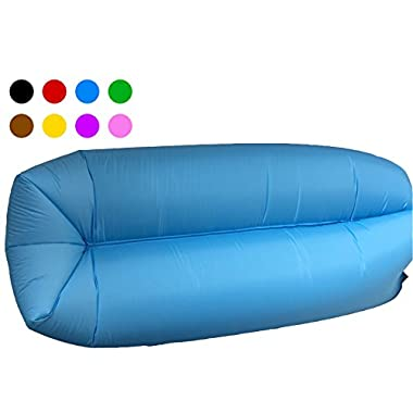 Inflatable Lounger Couch Camping Air Sofa Sleeping bag Waterproof Outdoor Bed Portable Compression Sacks With Carry bag Great furniture to use as bed hammock Chair Mattress Floats Water (blue)