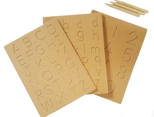 T.E Alphabet Tracing Boards | ABC 123 - Trace Letters and Numbers | Wooden Montessori Learning Skills and fine Motor Development for preschoolers