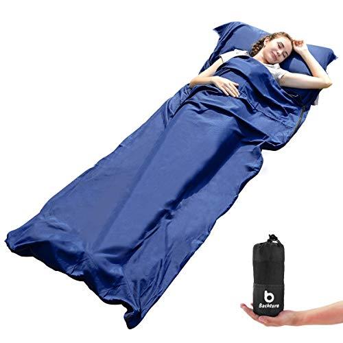 BACKTURE Saco de Dormir, Saco de Dormir Profesional con Bolsa de Compresión de Malla, Multifuncional Microfibra Aire acondicionado edredón y sábanas, para Camping y Senderismo, 220*90cm(azul oscuro)