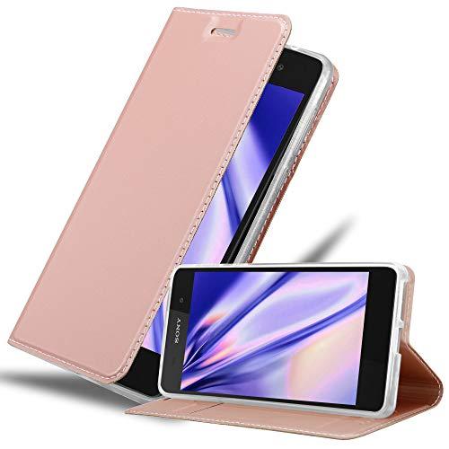 Cadorabo Hülle für Sony Xperia E5 in Classy ROSÉ Gold – Handyhülle mit Magnetverschluss, Standfunktion & Kartenfach – Hülle Cover Schutzhülle Etui Tasche Book Klapp Style
