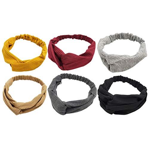 6 stuks kruis knopen hoofdbanden zachte elastische stof hoofdband effen gebreid haarbanden voor vrouwen en meisjes