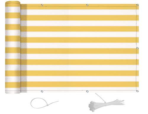 AXT SHADE Blickdichte Balkon sichtschutz 75x500cm HDPE, UV-Schutz Balkonabdeckung,Balkonverkleidung - mit Kabelbindern -Gelbe und weiße Streifen
