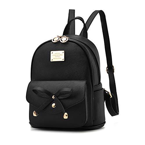 Mini Babala Damen Vintage PU Leder Rucksack Schultasche Daypacks Outdoor Umhängetasch Casual Wasserdichte Rucksack für Frauen, schwarz