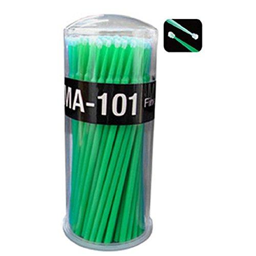 DAEDALUS® Lot de 100 petites brosses applicatrices jetables pour extensions de cils (vert)