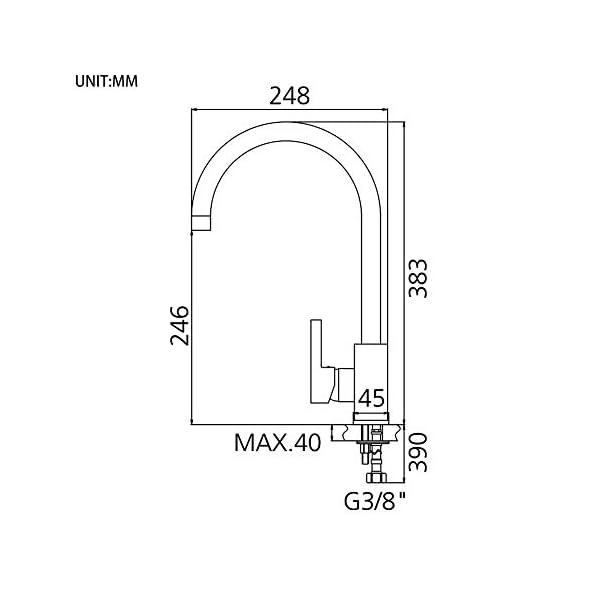 GRIFEMA Irismart – Grifo de cocina, caño giratorio 360 °, mezclador monomando fregadero