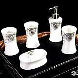 Ashtray Cuarto de baño de cerámica Set 5 Piezas Europea Creativo Baño Suministros Cepillo de Dientes Titular de jabón dispensador de jabón Titular Enjuague Copa,B