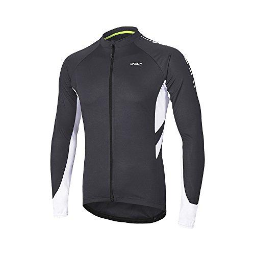 ARSUXEO Herren Full Reißverschluss Lange Ärmel Cycling Jersey Fahrrad MTB Bike Shirt 6030 Dunkelgrau L