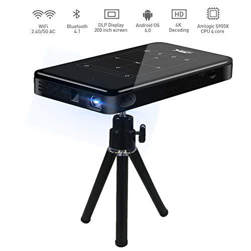 Garsent Mini DLP-projector, 3D 4K HD 1080P draagbare intelligente WiFi DLP-projectorprojector met statief home theater mediaspeler ondersteunt Android-systeem / HDMI / USB / Bluetooth / TF-kaart (EU 100-240V)
