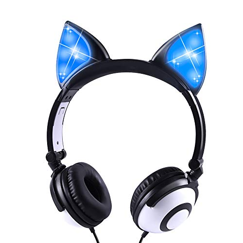 LOBKIN Stereo Kinder Kopfhörer, Foldable Kind Leicht Headphone mit Volume Limited Ear Protection, Abnehmbare Katze Ohr Baby Kopfhörer, Tolles Geschenk für Kinder (schwarz1)