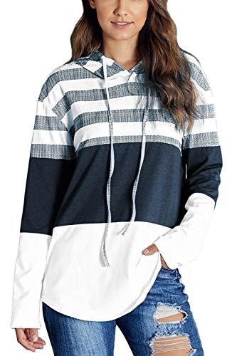 SMENG Jersey de manga larga para mujer, diseño de rayas Blanco XXL