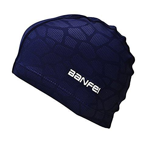 SHESHY Hommes Flexible Imperméable Résistant à l'humidité Bonnet de Natation de Taille Adulte Fibre de Coton Bonnet de Bain (Bleu)