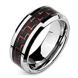 MunkiMix Breite 8mm Wolframcarbid Wolfram Kohlenstoff Carbon Fiber Kohlefaser Ring Bequeme Passform...