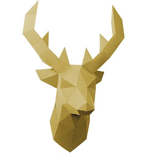 PaperShape Hirsch Papier Tier 3D ohne kleben, Ausgeschnitten und vorgefalzt. Tiertrophäe als Wand-Deko aus FSC-Papier in 3 Farben Hirsch-Kopf Maße 55 x 41 x 29cm. Made in Germany (Liberate Gold)