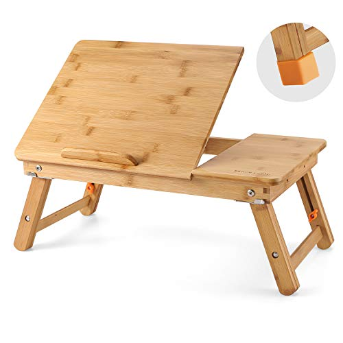 Nnewvante Large Laptop Desk Table Adjustable 100% Bamboo Foldable Breakfast Serving Bed Tray Table w' Tilting Top Drawer Leg Cover