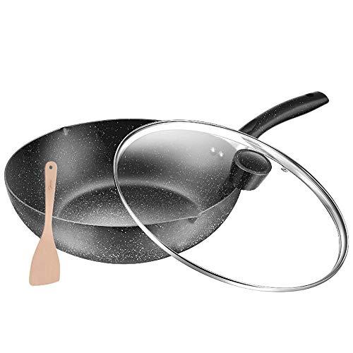 YAUUYA Koekenpan antiaanbakplaat Maifan steen Inductie Niet Stick Koekenpan met Hittebestendige Handvat Kookgerei voor alle kookplaten inductie Pan 30 cm Zwart