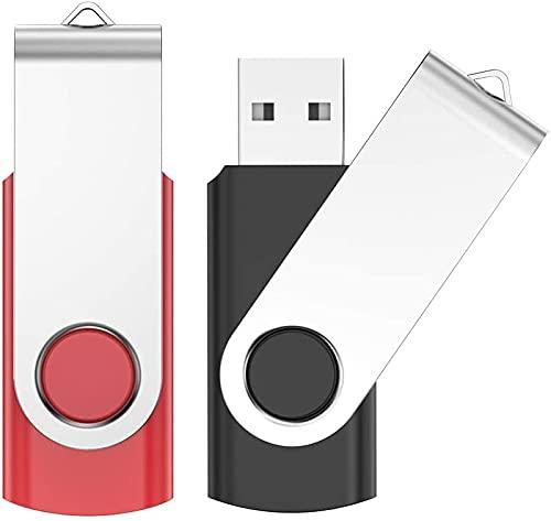 USB Stick 4GB 2 Stück, JIUSHARK 2er Pack USB Speicherstick, 4GB Mini USB-Stick Schlüsselanhänger, 2Pcs Memory Stick USB Pendrive 2.0 ( Schwarz Rot )