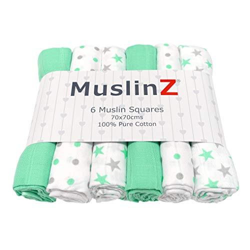 MuslinZ 6pk bebé Muslin cuadrados Burp paños 100% algodón suave puro 70x70cm estrellas de menta
