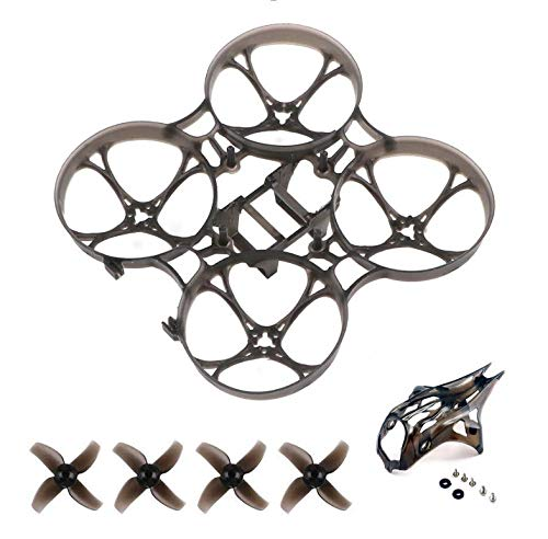 FancyWhoop 75mm Pro Micro Brushless Whoop Frame con caddx Turtle2 Camera Canopy Kit y 40mm 4-Blade Props 1.0mm Eje Negro para Mobula7 HD 2-3S Interior Brushless Micro FPV RC Drone
