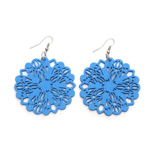Pendientes de gota Idin – Pendientes de gota de madera con diseño de filigrana azul