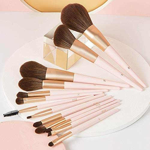 Make Up 13 Full Set of Thick Aluminum Tube Birch Handles, Comfortable and Durable, Eye Shadow Blush Trimming Refreshing Hand Makeup Tool for Daily Travel