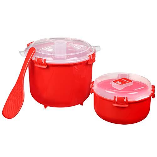 Sistema microondas arrocera (2,6 l) y recipiente redondo para alimentos apto para microondas (915 ml) | Sin BPA